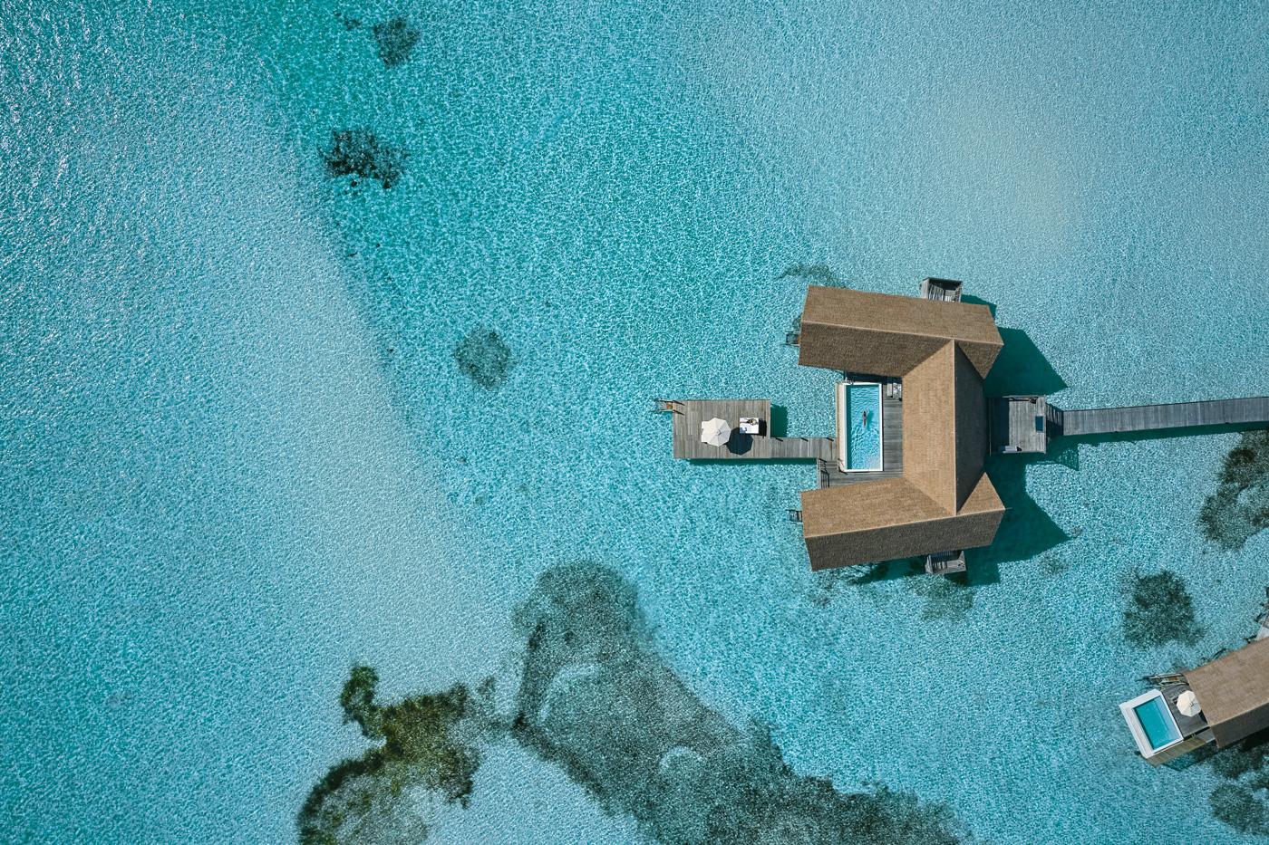 Wasservilla Vogelperspektive COMO Cocoa Island