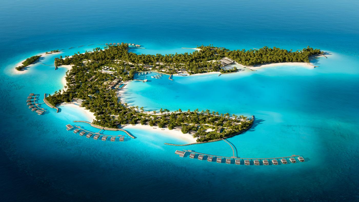 Insel aus Vogelperspektive Patina Maldives Fari Islands