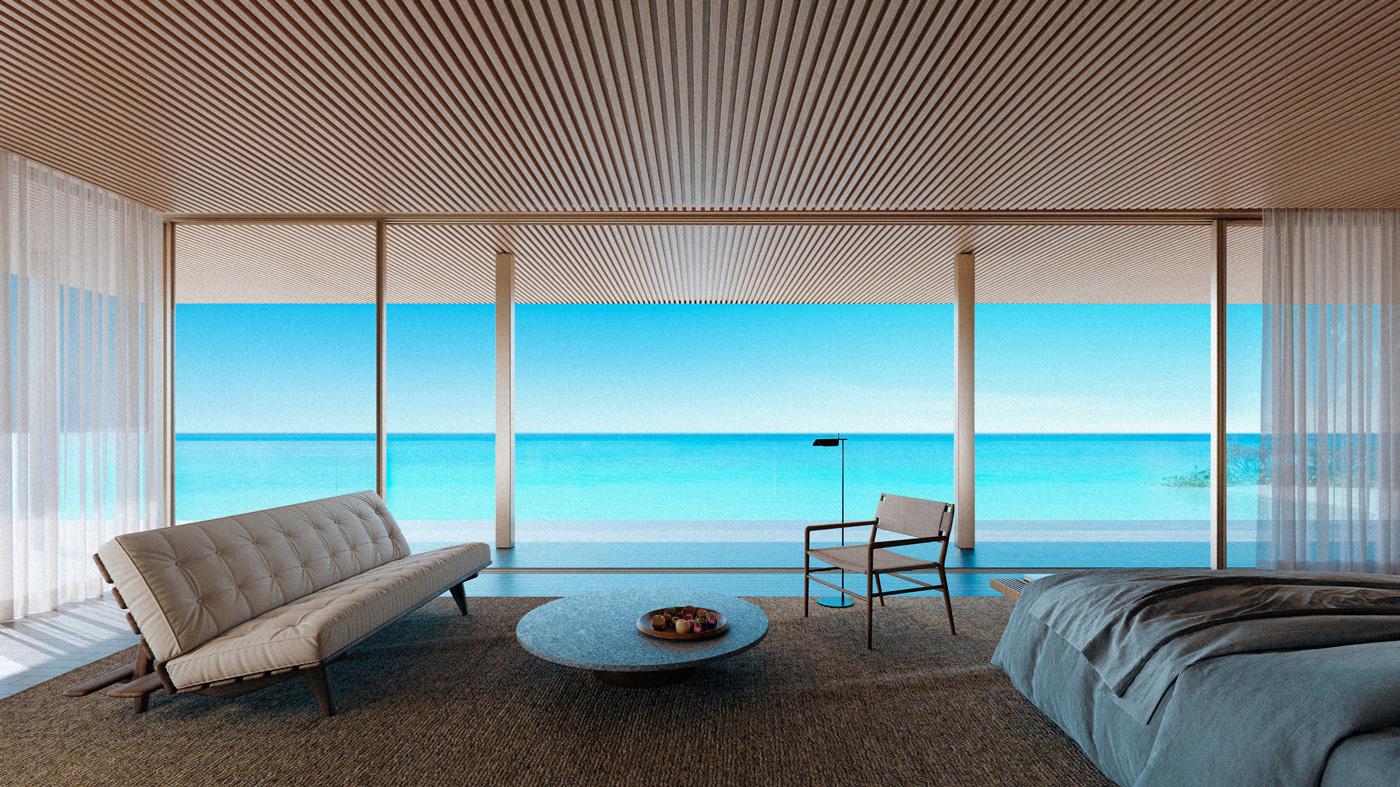 Wohnbereich des Beach House des Patina Maldives Fari Islands
