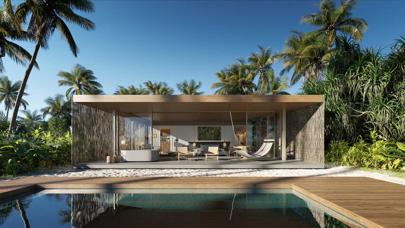 Außenansicht einer Beach Pool Villa des Patina Maldives Fari Islands