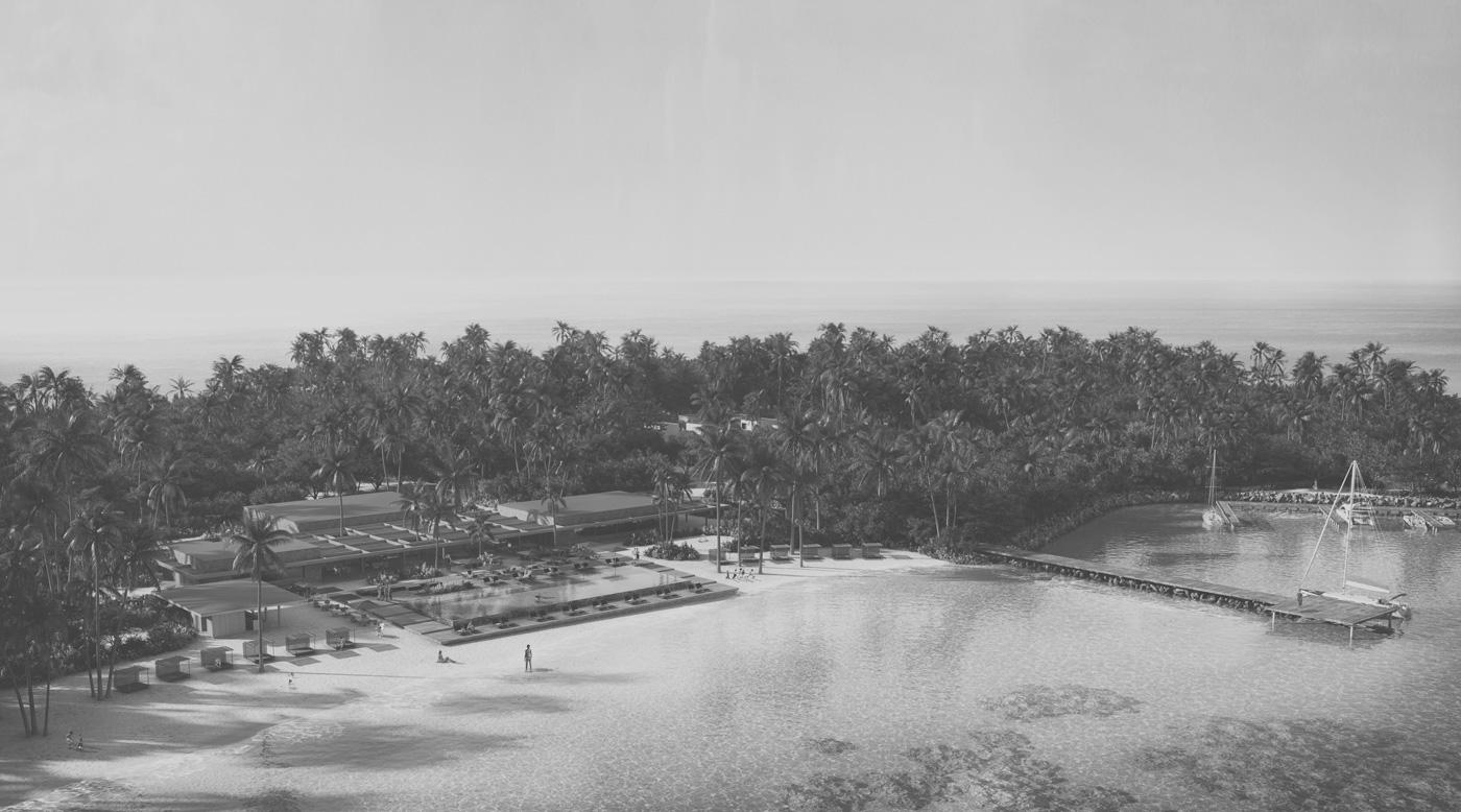 Strand mit Pool des Patina Maldives Fari Islands