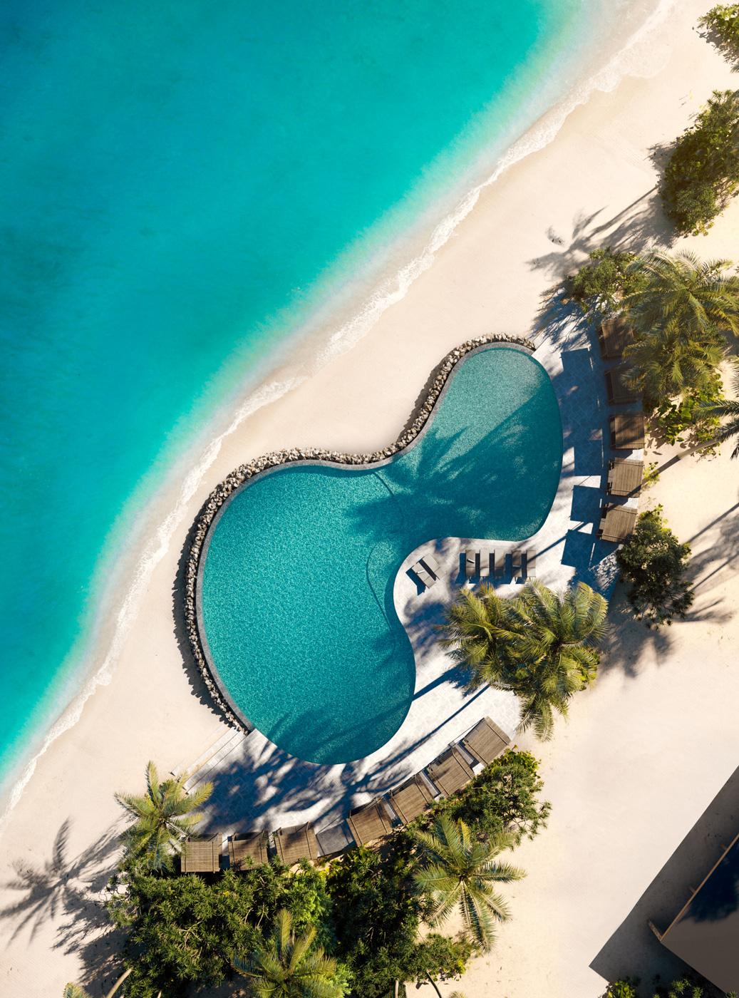 Beach Club Patina Maldives Fari Islands aus Vogelperspektive