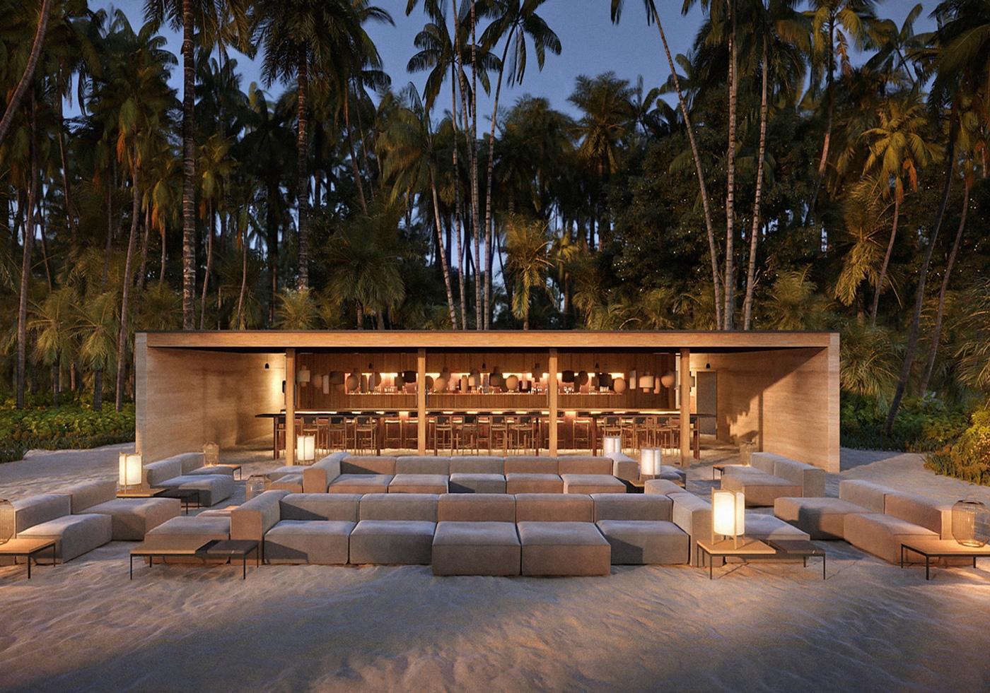 Außenansicht der Veli Bar des Patina Maldives Fari Islands