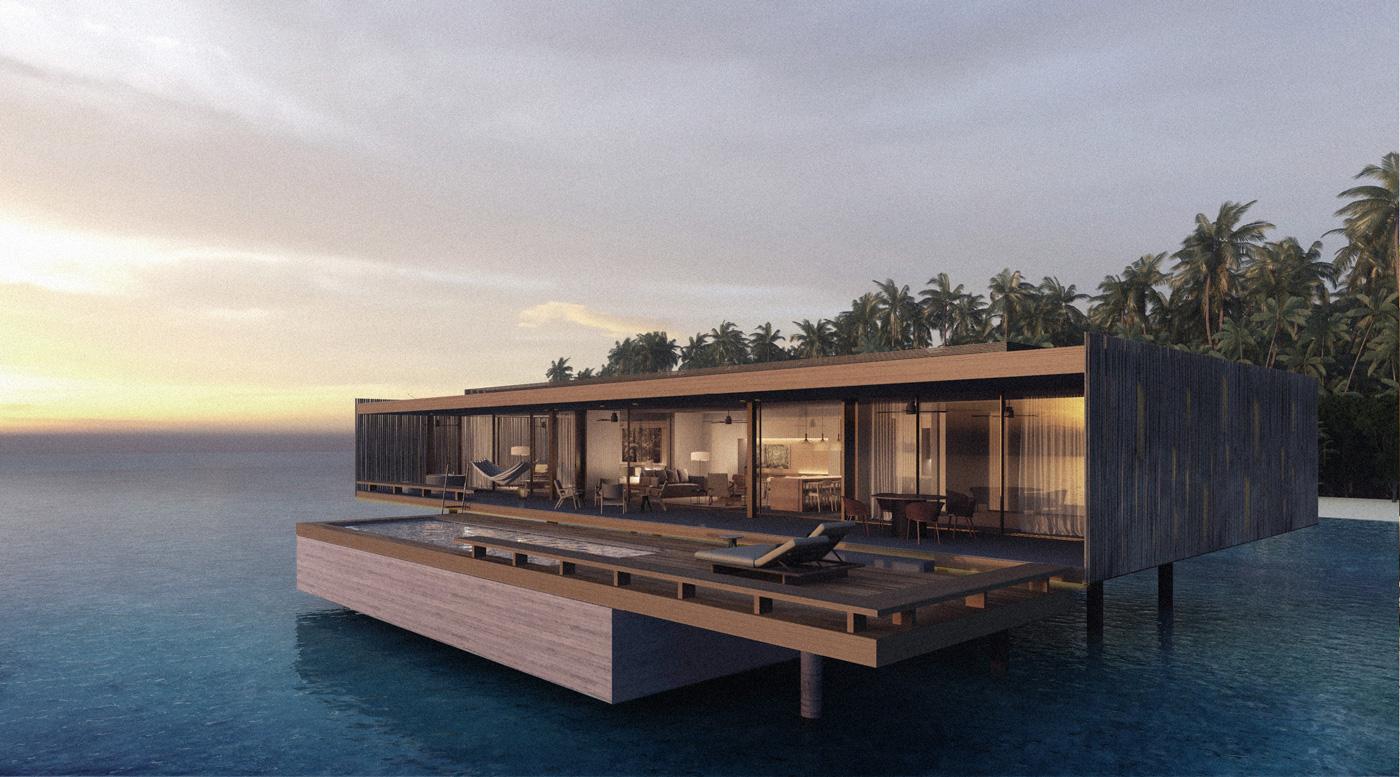 Außenansicht einer Wasservilla des Patina Maldives Fari Islands