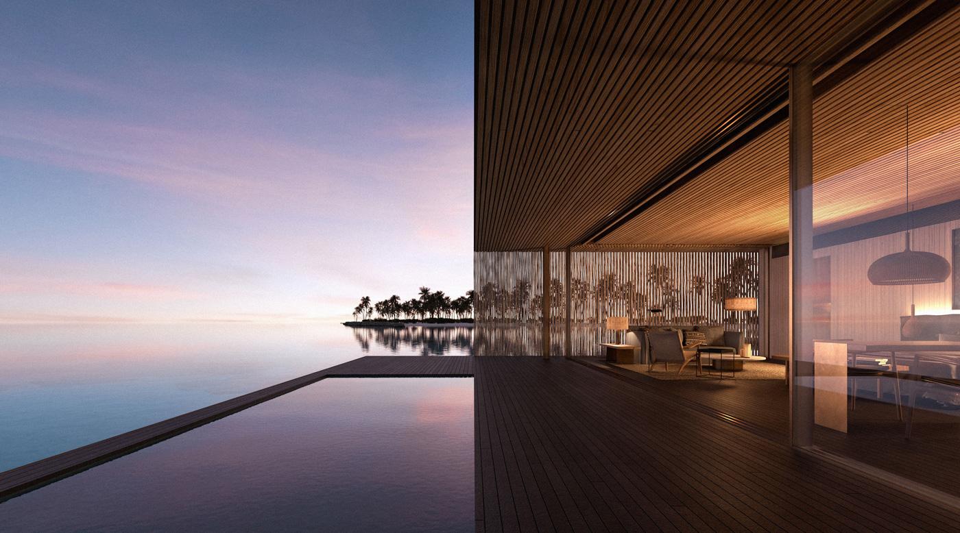 Terrasse einer Wasservilla Patina Maldives Fari Islands