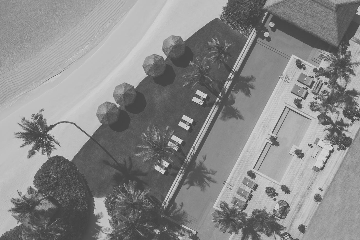 Privatpool des Waldorf Astoria aus der Vogelperspektive