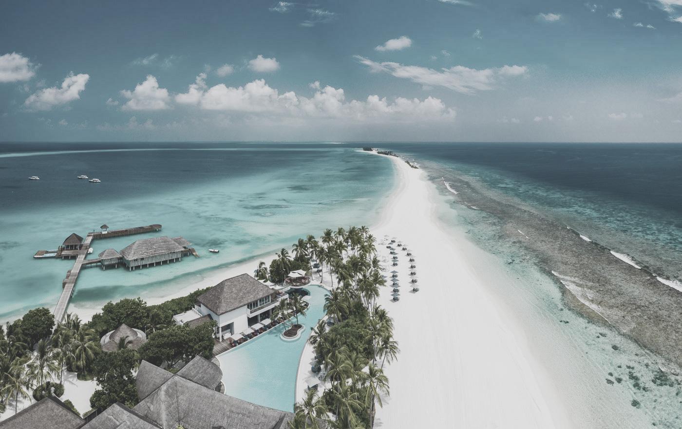 Luftaufnahme Finolhu Malediven Sandbank
