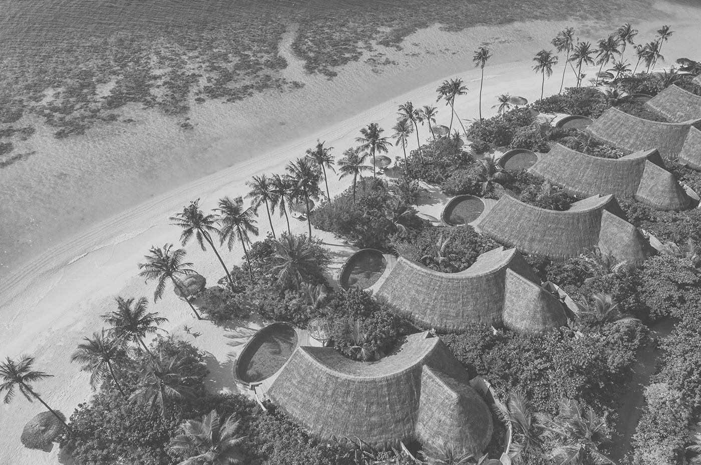 Beach Villas des Milaidhoo Island aus der Vogelperspektive