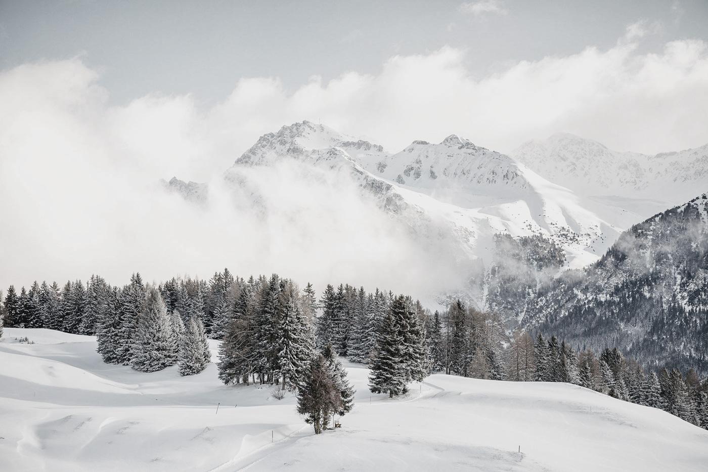 Winterliche Berglandschaft in der Lenzerheide