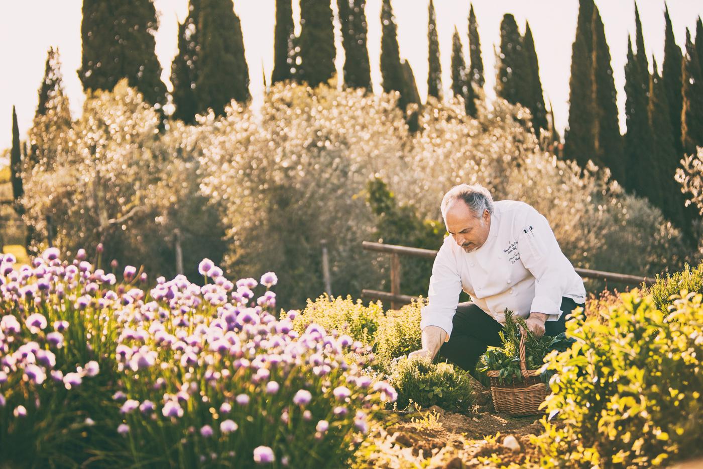Sternekoch Giovanni Luca Di Pirro im Kräutergarten